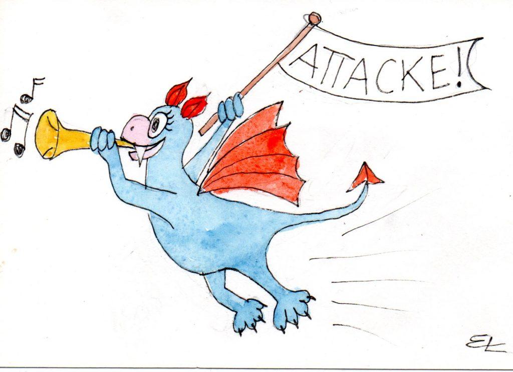 Hnandgemalte Illustration: ein kleiner blauer Drache reitet zur Attacke